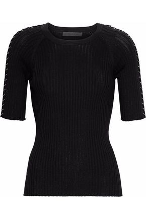 ALEXANDER WANG Chain-trimmed ribbed-knit stretch-cotton top
