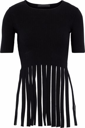 ALEXANDER WANG Fringed stretch-knit top