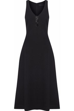 ALEXANDER WANG Cutout PVC-trimmed cady midi dress