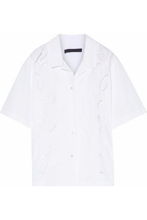 ALEXANDER WANG Cutout embroidered cotton-poplin shirt
