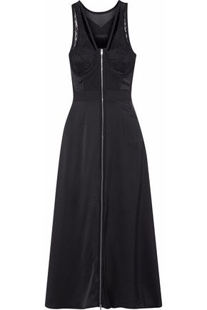 ALEXANDER WANG Mesh, lace and silk-satin midi dress