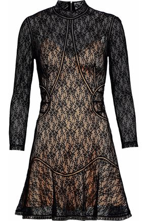 ALEXANDER WANG Fluted studded embroidered lace and tulle mini dress