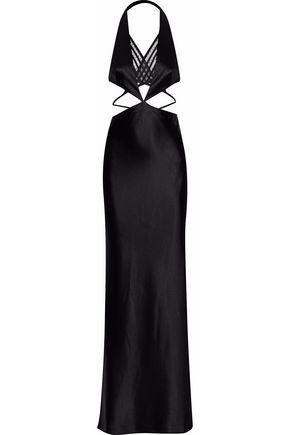 ALEXANDER WANG Cutout point d'esprit-paneled satin halterneck gown
