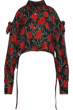 ALEXANDER WANG Ruffled cold-shoulder floral-print silk satin-twill top