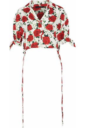 ALEXANDER WANG Cropped floral-print silk-faille top