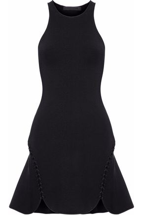 ALEXANDER WANG Lace-up scalloped stretch-knit mini dress