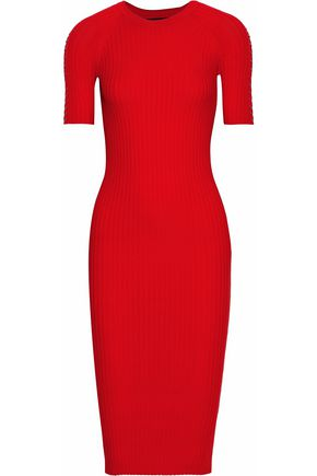 ALEXANDER WANG Chain-trimmed ribbed-knit stretch-cotton dress