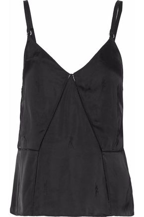 ALEXANDER WANG Open knit-trimmed satin top