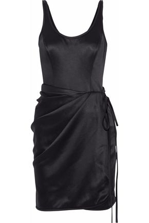 ALEXANDER WANG Wrap-effect layered satin mini dress