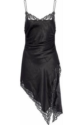 ALEXANDER WANG Asymmetric giupure lace-trimmed silk-jacquard top