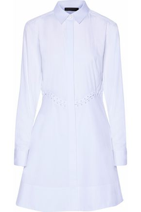 ALEXANDER WANG Lace up-effect cotton-poplin mini dress