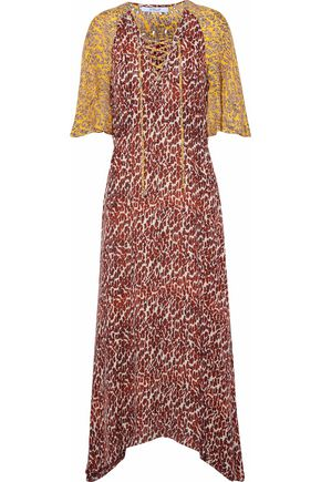 DEREK LAM 10 CROSBY Lace-up paneled printed silk midi dress