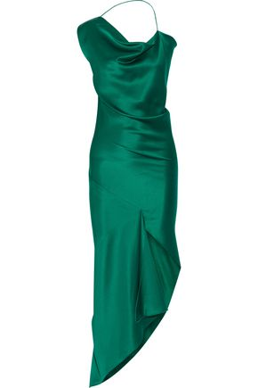 CUSHNIE ET OCHS Draped asymmetric silk-satin dress