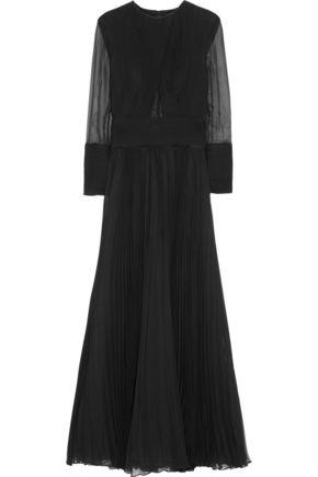 GIVENCHY Cutout plissé silk-chiffon gown
