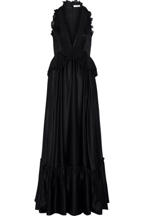 GIVENCHY Ruffled gown in black silk-satin