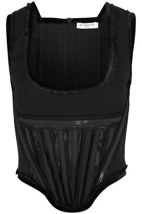 GIVENCHY Corset in velvet-trimmed black wool