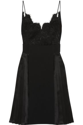 GIVENCHY Dress in black silk-satin, lace and crepe