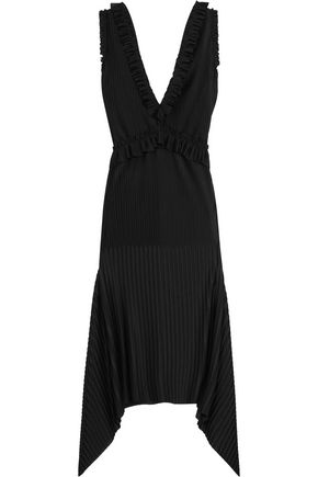 GIVENCHY Pleated midi dress in black stretch-satin