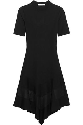 GIVENCHY Organza-paneled dress in black ribbed-knit