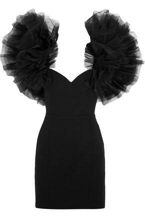 SAINT LAURENT Tulle-trimmed wool-crepe mini dress