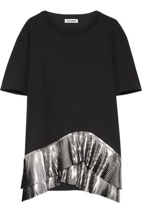 JIL SANDER Pleated metallic-trimmed jersey top