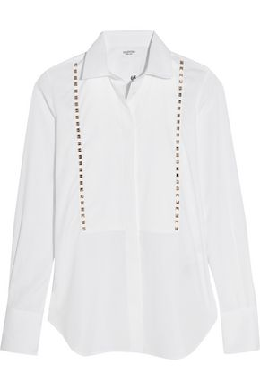 VALENTINO Studded cotton-poplin shirt