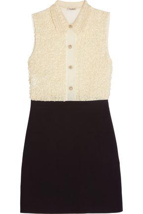 MIU MIU Embellished ruffled lace-paneled silk-organza and cady mini dress