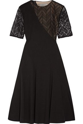 JASON WU Lace-paneled stretch-ponte dress