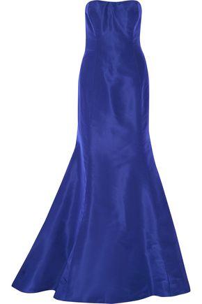 OSCAR DE LA RENTA Strapless ruffled silk-faille gown