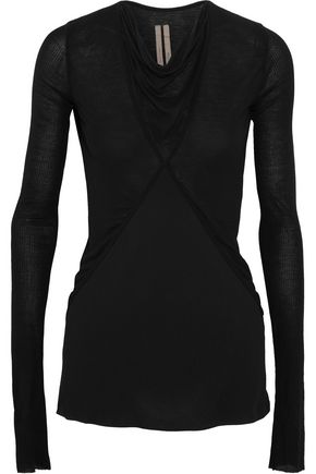 RICK OWENS Paneled stretch-jersey and chiffon top