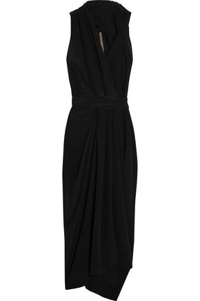RICK OWENS Crepe de chine halterneck wrap dress