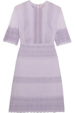GIAMBATTISTA VALLI Guipure lace-paneled crepe and chiffon mini dress