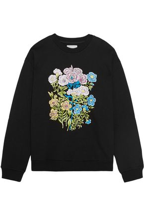 CHRISTOPHER KANE Floral embroidered cotton-jersey sweatshirt