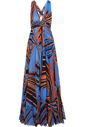 EMILIO PUCCI Cutout pleated printed silk-chiffon maxi dress