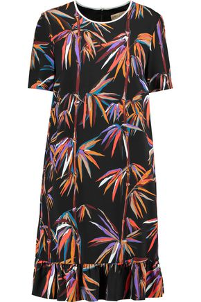 EMILIO PUCCI Ruffle-trimmed printed twill mini dress