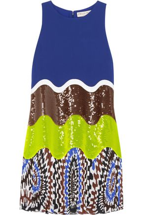 EMILIO PUCCI Sequin-paneled crepe mini dress