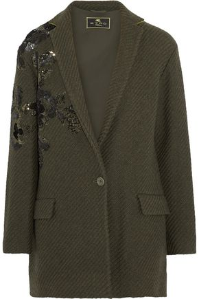 ETRO Embellished ribbed wool-blend jacket