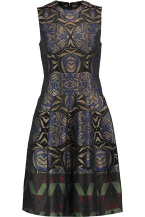 ETRO Paneled metallic jacquard mini dress