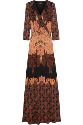 ETRO Wrap-effect printed silk-cady gown