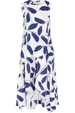 MARNI Pleated printed cotton-blend midi dress