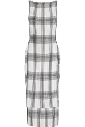 HELMUT LANG Layered printed crepe de chine midi dress