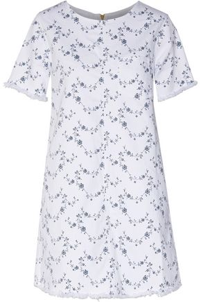 CURRENT/ELLIOTT The Fray Edge Shift floral-print denim mini dress