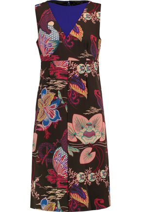 ETRO Paneled printed wool-crepe dress
