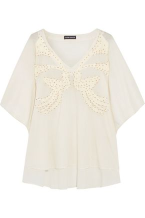ANTIK BATIK Embroidered and bead-embellished cotton top