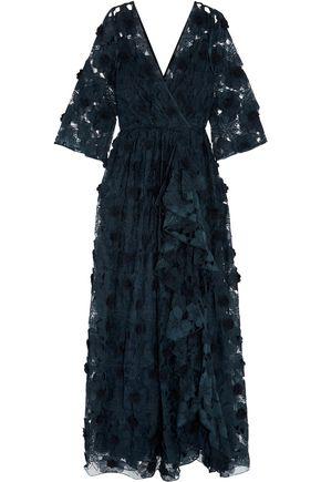 BADGLEY MISCHKA Floral-appliquéd georgette gown