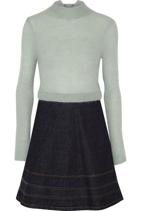 REDValentino Paneled mohair-blend and flared denim mini dress