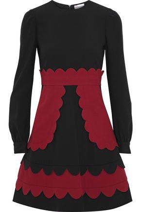 REDValentino Scalloped two-tone crepe mini dress