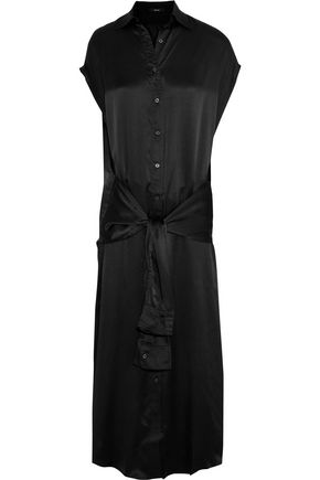 R13 Tie-front sik-satin midi dress
