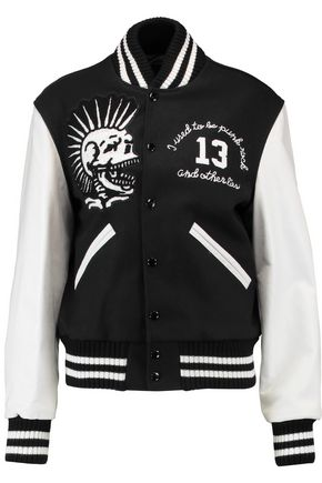 R13 Vintage Varsity embroidered wool-blend and leather jacket