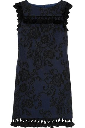 BADGLEY MISCHKA Tasseled embroidered faille mini dress